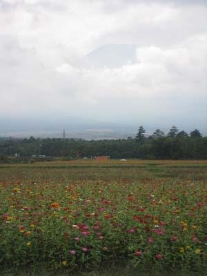 富士山がぼんやりと